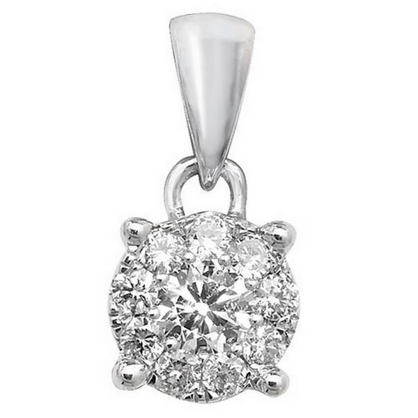 Brilliant Diamond Cluster Pendant in 9ct White Gold (0.20ct)