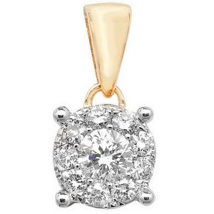 Brilliant Diamond Cluster Pendant in 9ct Yellow Gold (0.25ct)