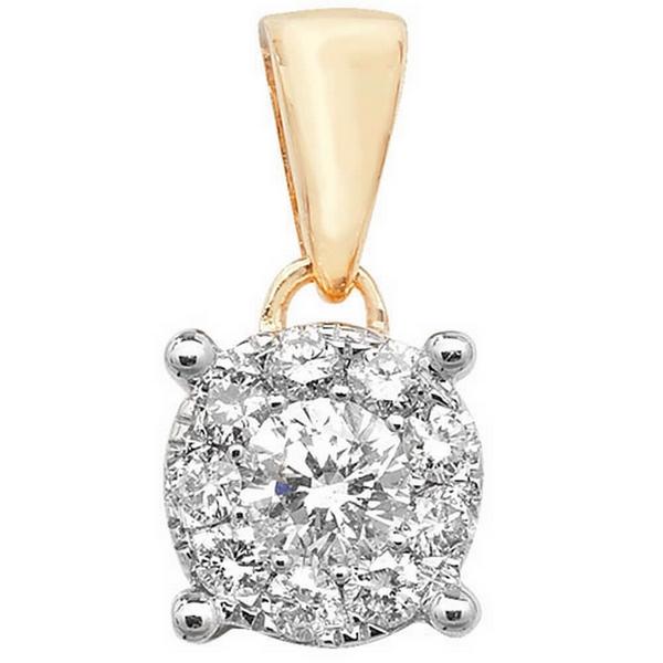 Brilliant Diamond Cluster Pendant in 9ct Yellow Gold (0.25ct)