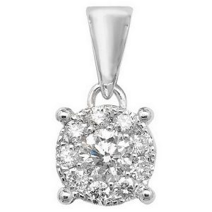 Brilliant Diamond Cluster Pendant in 9ct White Gold (0.25ct)