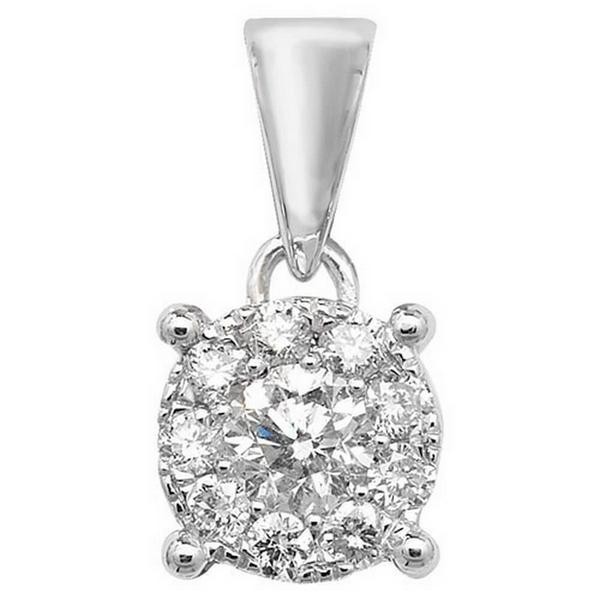 Brilliant Diamond Cluster Pendant in 9ct White Gold (0.25ct)
