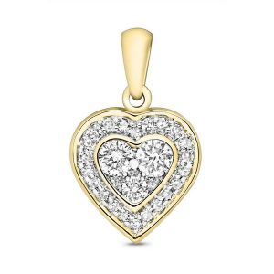 Diamond Set Heart Shaped Pendant in 9ct Yellow Gold (0.25ct)