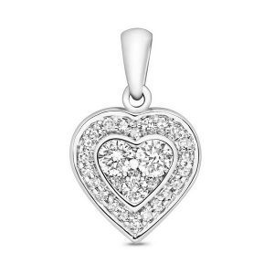 Diamond Set Heart Shaped Pendant in 9ct White Gold (0.25ct)