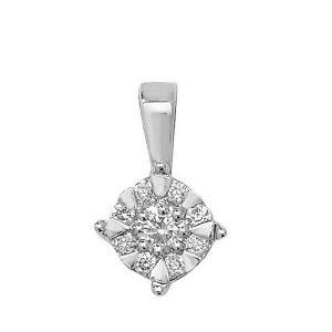 Brilliant Diamond Pendant in 9ct White Gold (0.18ct)