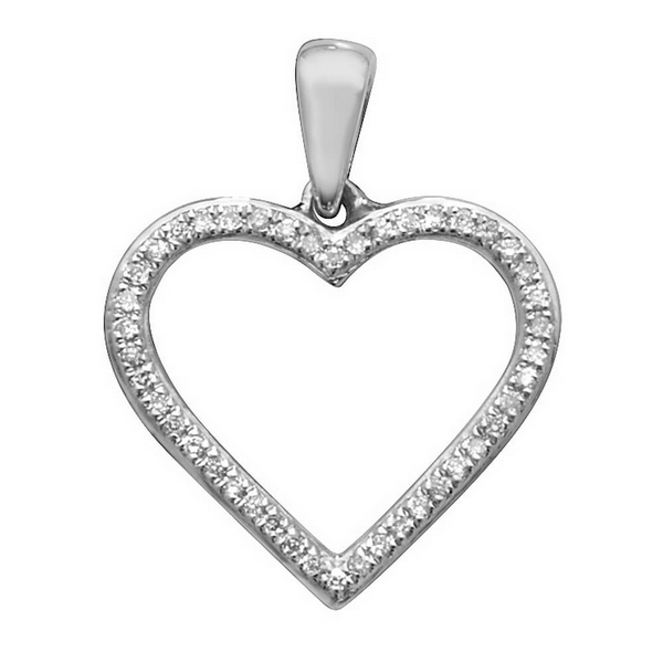 Open Heart Diamond Pendant in 9ct White Gold (0.09ct)