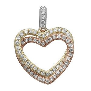 Double Heart Diamond Pendant in 9ct White, Yellow & Red Gold (0.23ct)