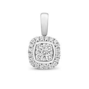 Cushion Shaped Diamond Cluster Pendant in 9ct White Gold (0.25ct)