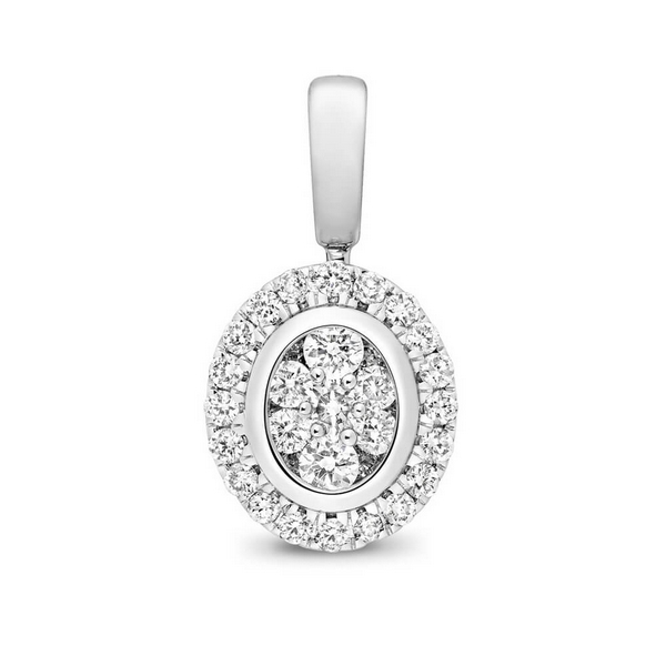 Pear Shaped Diamond Cluster Pendant in 9ct White Gold (0.25ct)
