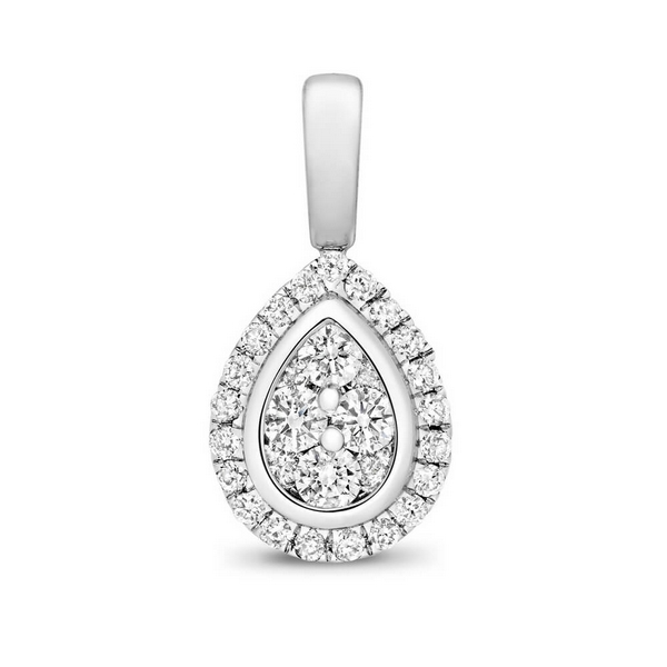 Oval Shaped Diamond Cluster Pendant in 9ct White Gold (0.23ct)