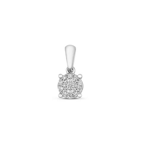 Illusion Set Diamond Cluster Pendant in 9ct White Gold (0.06ct)