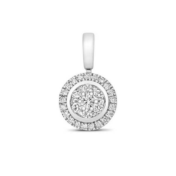 Round Shaped Diamond Cluster Pendant in 9ct White Gold (0.25ct)