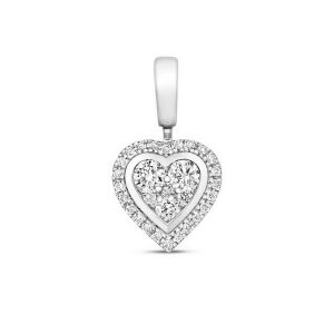 Heart Shaped Diamond Cluster Pendant in 9ct White Gold (0.25ct)