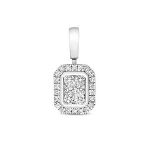 Emerald Shaped Diamond Cluster Pendant in 9ct White Gold (0.25ct)