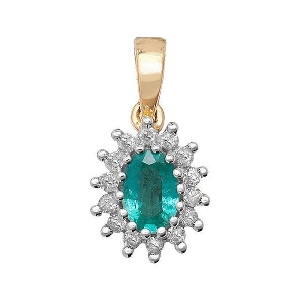 Emerald and Diamond Cluster Pendant in 9ct Yellow Gold