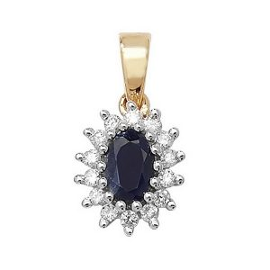 Sapphire and Diamond Cluster Pendant in 9ct Yellow Gold