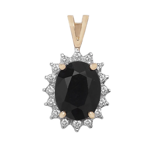 Diamond and Sapphire Pendant in 9ct Yellow Gold