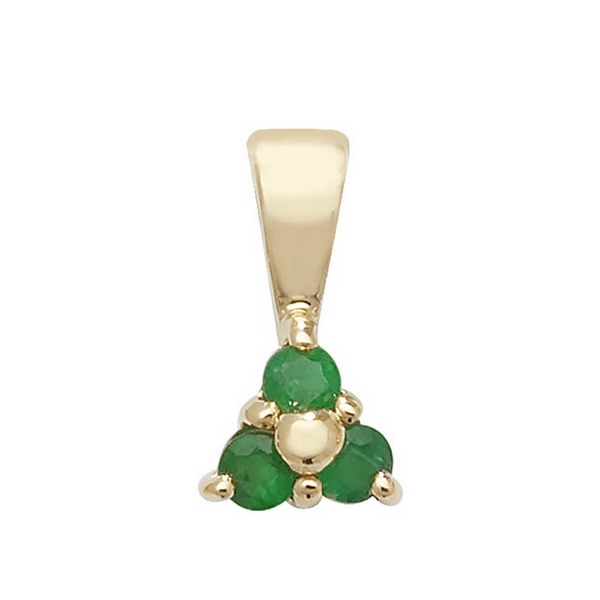 Emerald 3 Stone Pendant in 9ct Yellow Gold