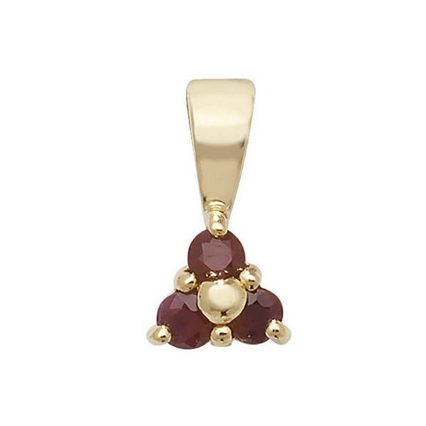 Ruby 3 Stone Pendant in 9ct Yellow Gold