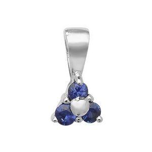 Sapphire 3 Stone Pendant in 9ct White Gold
