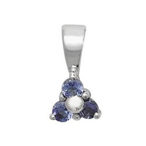 Tanzanite 3 Stone Pendant in 9ct White Gold