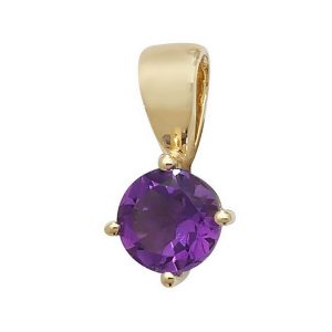 Round Claw Set Amethyst Single Gemstone Pendant in 9ct Yellow Gold