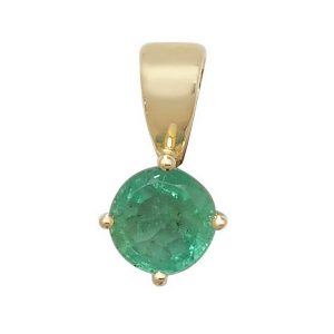 Round Claw Set Emerald Single Gemstone Pendant in 9ct Yellow Gold