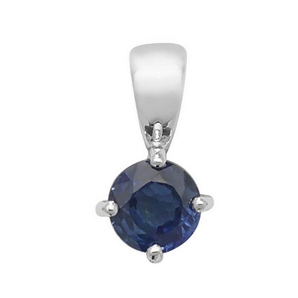 Round Claw Set Sapphire Single Gemstone Pendant in 9ct White Gold