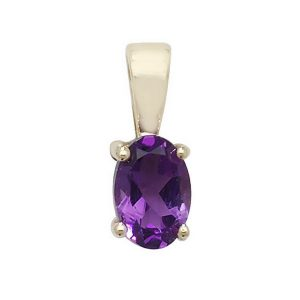 Oval Amethyst Single Gemstone Pendant in 9ct Yellow Gold