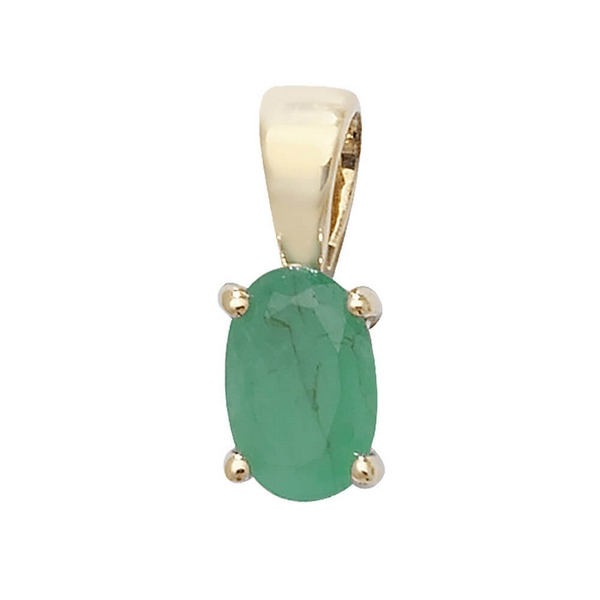 Oval Emerald Single Gemstone Pendant in 9ct Yellow Gold