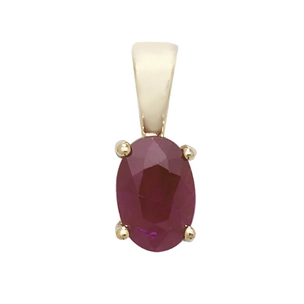Oval Ruby  Single Gemstone Pendant in 9ct Yellow Gold
