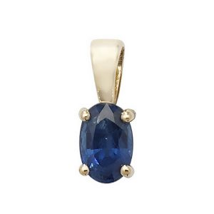 Oval Sapphire Single Gemstone Pendant in 9ct Yellow Gold