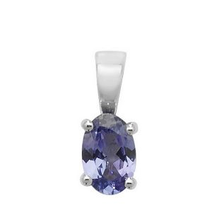 Oval Tanzanite Single Gemstone Pendant in 9ct White Gold