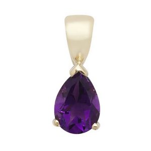 Pear Shaped Amethyst Single Gemstone Pendant in 9ct Yellow Gold