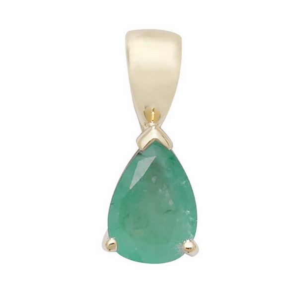Pear Shaped Emerald Single Gemstone Pendant in 9ct Yellow Gold