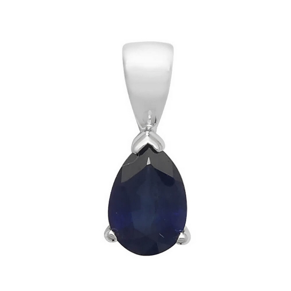 Pear Shaped Sapphire Single Gemstone Pendant in 9ct White Gold