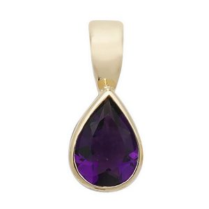 Pear Shaped Amethyst Single Gemstone Rubover Pendant in 9ct Yellow Gold