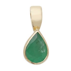 Pear Shaped Emerald Single Gemstone Rubover Pendant in 9ct Yellow Gold