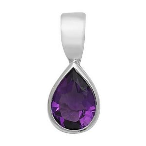Pear Shaped Amethyst Single Gemstone Rubover Pendant in 9ct White Gold