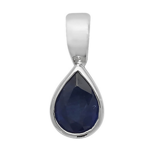 Pear Shaped Sapphire Single Gemstone Rubover Pendant in 9ct White Gold