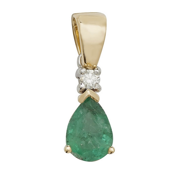 Pear Shaped Emerald Gemstone Rubover Pendant in 9ct Yellow Gold
