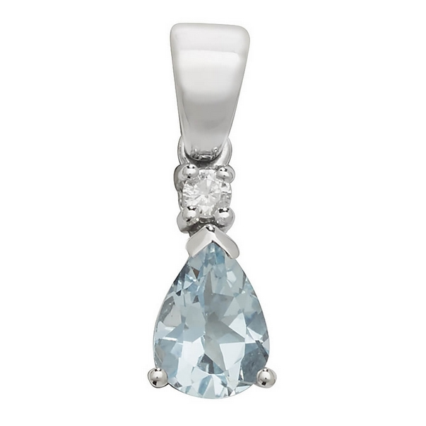 Pear Shaped Single Aquamarine Pendant in 9ct White Gold