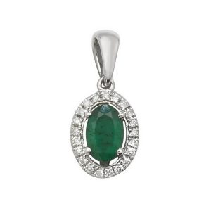 Oval Shaped Emerald and Round Diamond Halo Style Pendant in 9ct White Gold