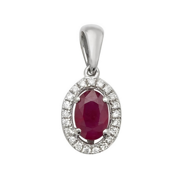 Oval Shaped Ruby and Round Diamond Halo Style Pendant in 9ct White Gold