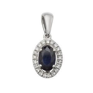 Oval Shaped Sapphire and Round Diamond Halo Style Pendant in 9ct White Gold