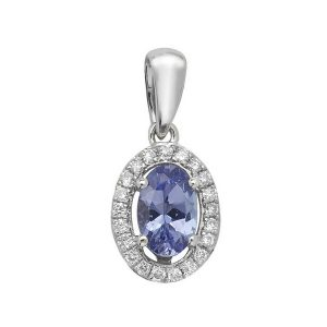 Oval Shaped Tanzanite and Round Diamond Halo Style Pendant in 9ct White Gold