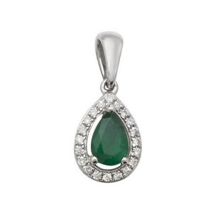 Pear Shaped Emerald and Round Diamond Halo Style Pendant in 9ct White Gold