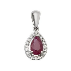 Pear Shaped Ruby and Round Diamond Halo Style Pendant in 9ct White Gold
