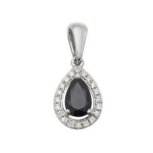 Pear Shaped Sapphire and Round Diamond Halo Style Pendant in 9ct White Gold