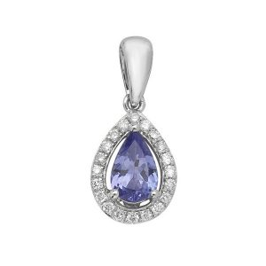 Pear Shaped Tanzanite and Round Diamond Halo Style Pendant in 9ct White Gold