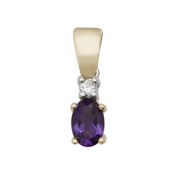 Oval Shaped Amethyst and Diamond Pendant in 9ct Yellow Gold